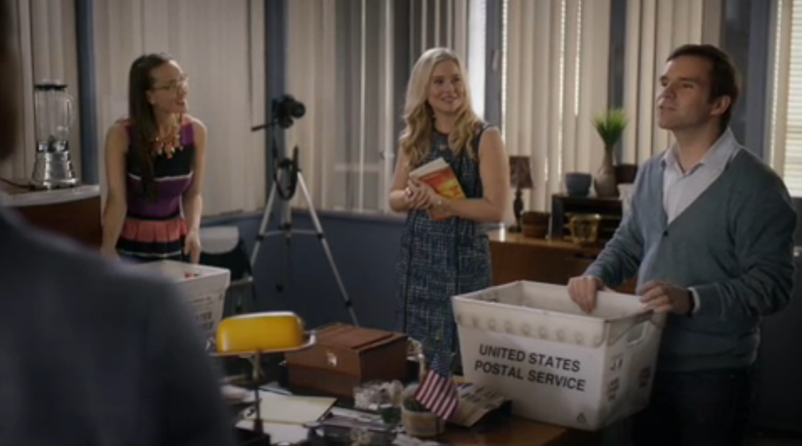 Geoff Gustafson as Norman, Crystal Lowe as Rita and Kristin Booth as Shane in Signed, Sealed, Delivered: Higher Ground