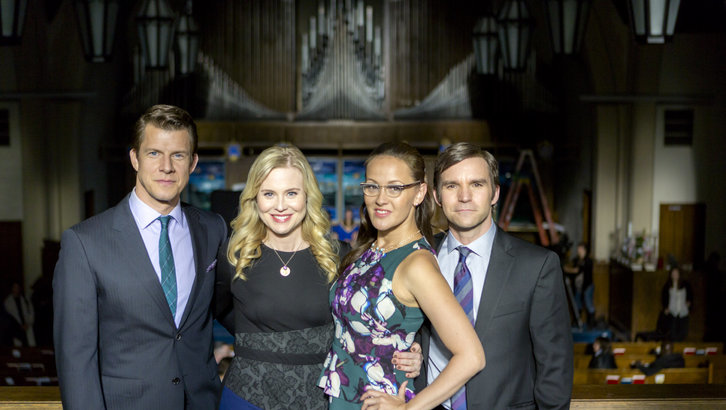 Eric Mabius, Kristin Booth, Crystal Lowe and Geoff Gustafson on the set of Signed, Sealed, Delivered: Lost Without You