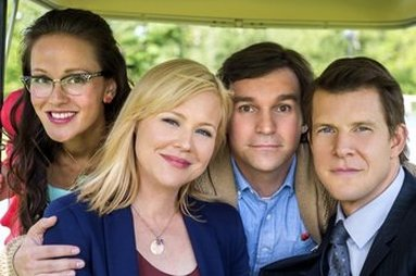 Crystal Lowe, Kristin Booth, Eric Mabius and Geoff Gustafson in Signed, Sealed, Delivered (Pilot)