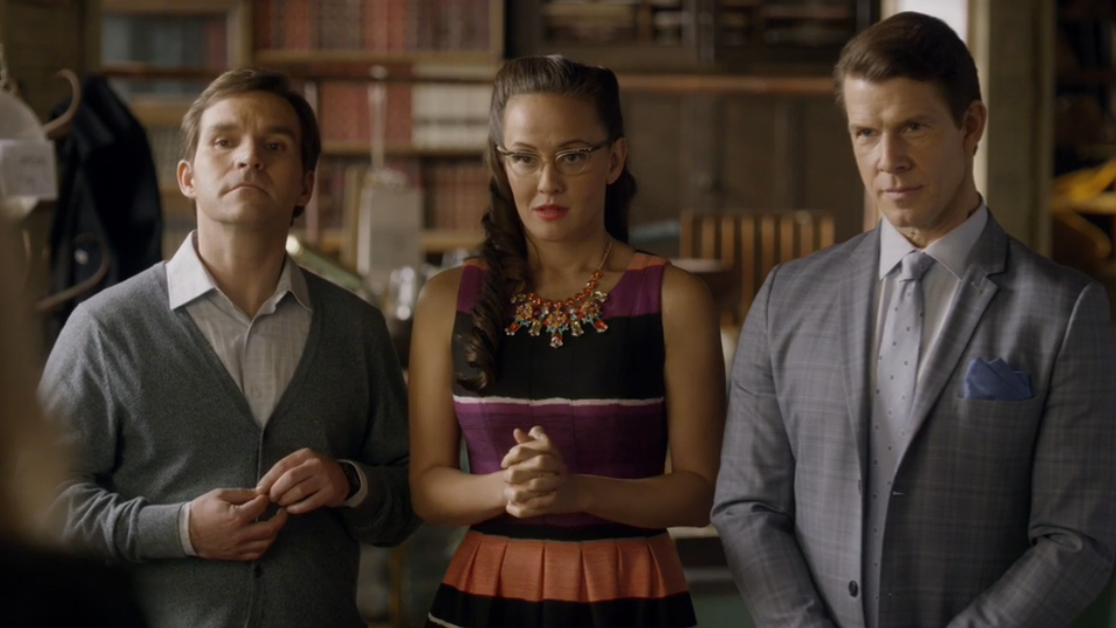 Geoff Gustafson as Norman, Crystal Lowe as Rita and Eric Mabius as Oliver in Signed, Sealed, Delivered: Higher Ground