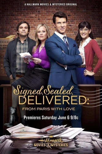 SIGNED, SEALED, DELIVERED - The Postables, Oliver, Shane, Rita and Norman, explore the mystery of true love as they deliver divorce papers to one couple the same day Oliver's missing wife reappears. Photo: Crystal Lowe, Geoff Gustafson, Eric Mabius, Kristin Booth Photo Credit: Copyright 2015 Crown Media United States LLC/Photographer: Bettina Strauss