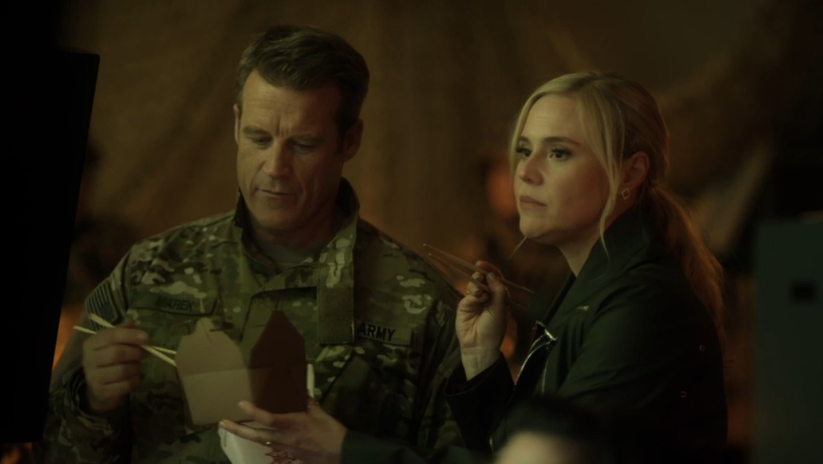 Mark Valley as Steve Marek and Kristin Booth as Shane McInerney in Signed, Sealed, Delivered: Higher Ground