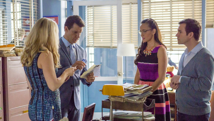 Kristin Booth as Shane, Eric Mabius as Oliver O'Toole, Geoff Gustafson as Norman and Crystal Lowe as Rita in Signed, Sealed, Delivered: Higher Ground